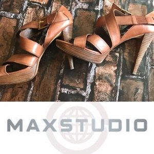Max Studio Leather Strappy Brown Heels